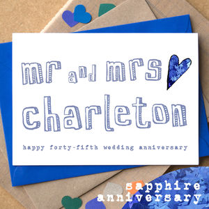 Personalised Forty Fifth 'Sapphire Anniversary' Card - anniversary cards