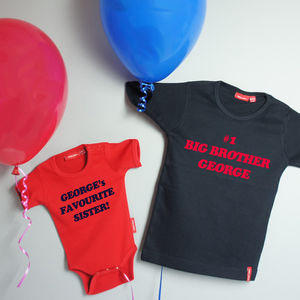 Big / Little Brother Or Sister T Shirt And Babygrow Set - clothing