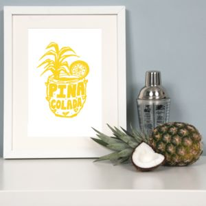 'Pina Colada' Cocktail Fine Art Giclee Print - typography