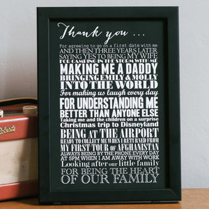 Personalised 'Thank You' Art Print - retirement gifts