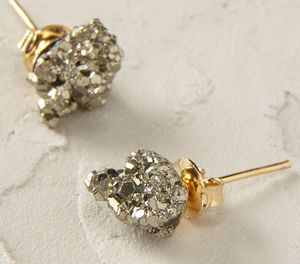 Pyrite Cubic Cluster Earrings - earrings