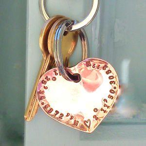 Personalised Heart Coordinate Keyring