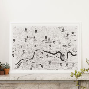 We Love You London Hand Drawn Map Print - treasured locations & memories