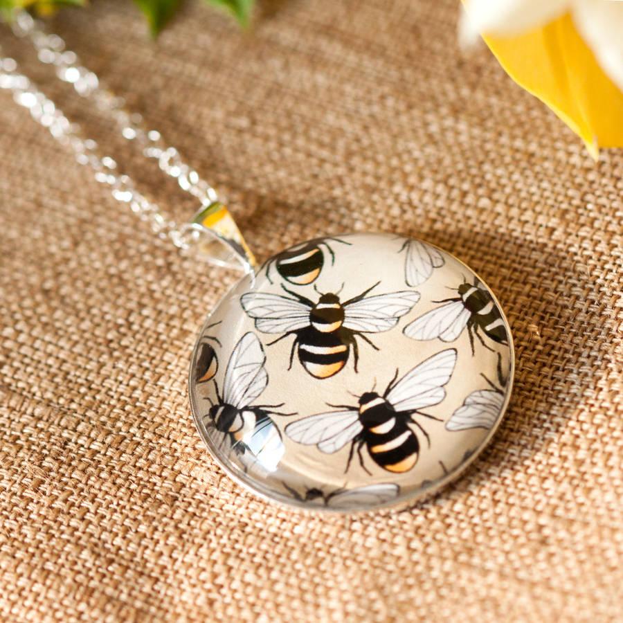 busy bee silver necklace and glass pendant by