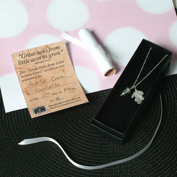 'From Little Acorns' Christening Necklace For Girls
