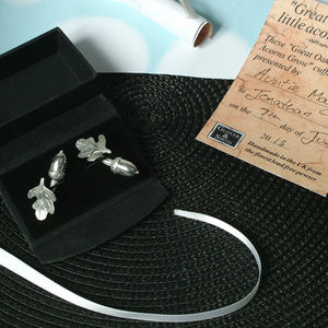 'From Little Acorns' Christening Cufflinks For Boys - men's jewellery