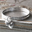 Sterling Silver Set Of Three Charm Bangles
