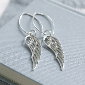 Sterling Silver Angel Wing Earrings - christmas clothing & accessories