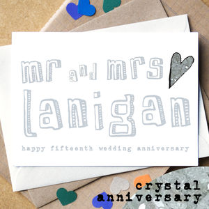 Personalised Fifteenth 'Crystal Anniversary' Card - anniversary cards
