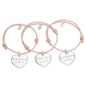 Set Of Personalised Heart Bracelets