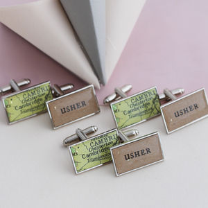 Personalised Rectangular Wedding Map Cufflinks