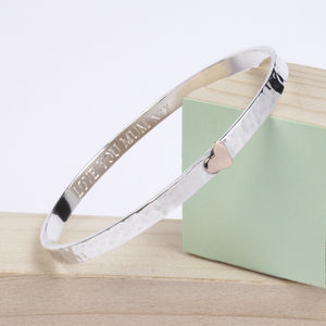 Personalised Silver Porthtowan Heart Bangle - jewellery gifts for mother