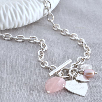 Personalised Sterling Silver Rose Quartz Heart Necklace
