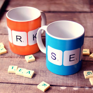 Personalised 'Scrabble' Mugs In 40 Colours - kitchen