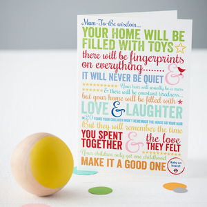 'Baby On Board' Motherhood Quote Card - for new mums