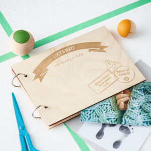 Personalised Wooden Baby Keepsake Book - baby shower gifts & ideas