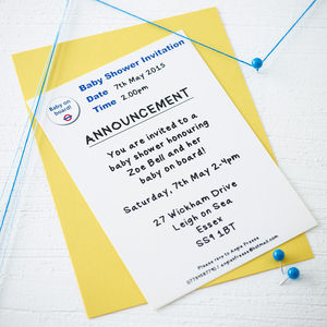 'Baby On Board' Baby Shower Invite - christening invitations