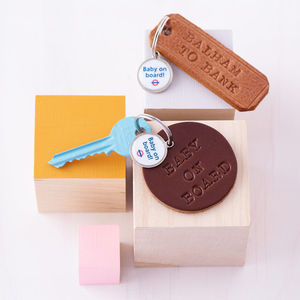Personalised 'Baby On Board' Leather Key Ring - baby shower gifts
