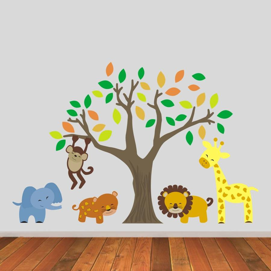 jungle animals and tree wall stickers by mirrorin