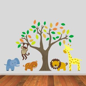 Jungle Animals And Tree Wall Stickers - wall stickers