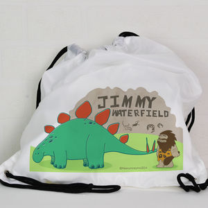 Personalised Kit Bag / Swimming Bag With Dinosaurs