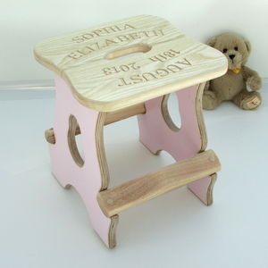 Engraved New Baby Stool - christening gifts