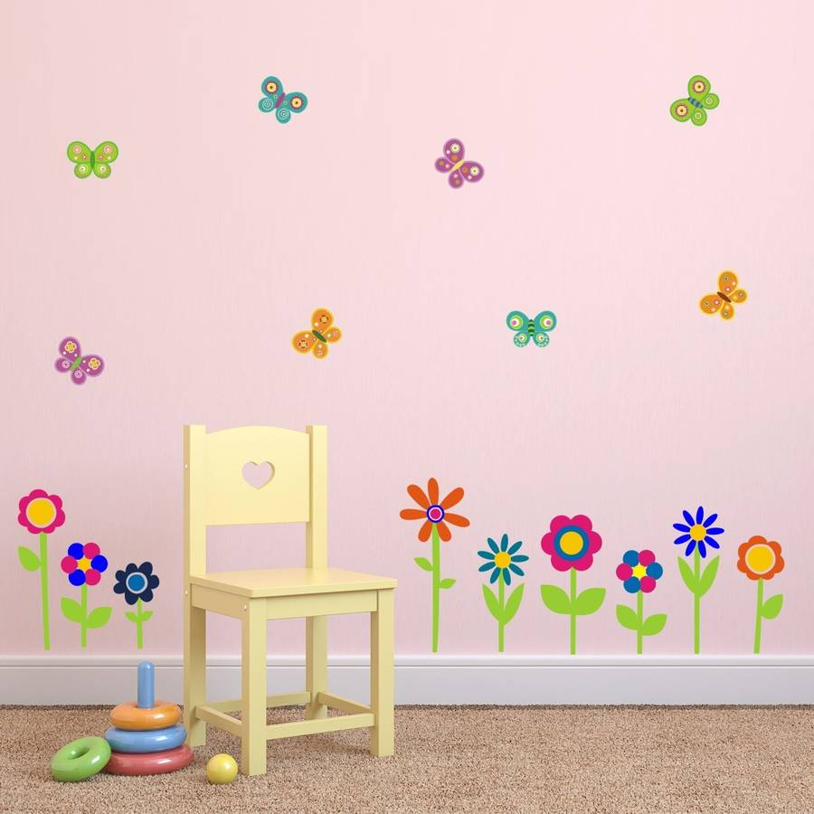 flowers and butterflies wall stickers by mirrorin butterfly and flowers wall stickers floral wall art