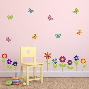 Flowers And Butterflies Wall Stickers - home decorating
