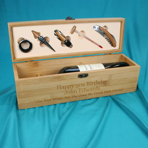 Personalised Birthday Wooden Wine Box With Accessories - keepsakes