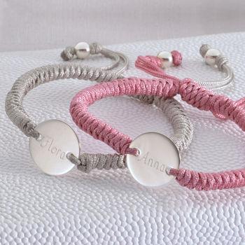 Personalised Sterling Silver Disc Friendship Bracelet