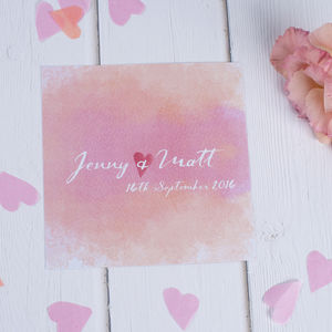 Watercolours Wedding Stationery - save the date cards