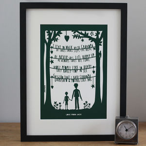 Personalised Grandparent Papercut Or Fine Art Print - gifts for grandparents