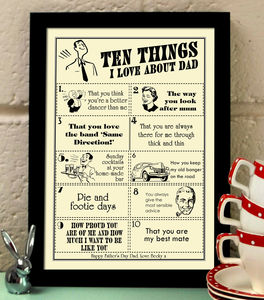 Ten Things I Love About Dad, Father's Day Print