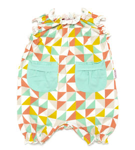 Lucy And Sam Geo Frill Romper - babygrows