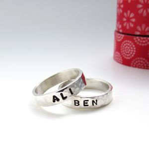 Silver Name Stacker Ring - rings