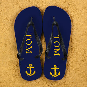 Anchor Style Personalised Flip Flops - nautical necessities