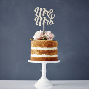 Mr And Mrs Wooden Wedding Cake Topper - cake decoration