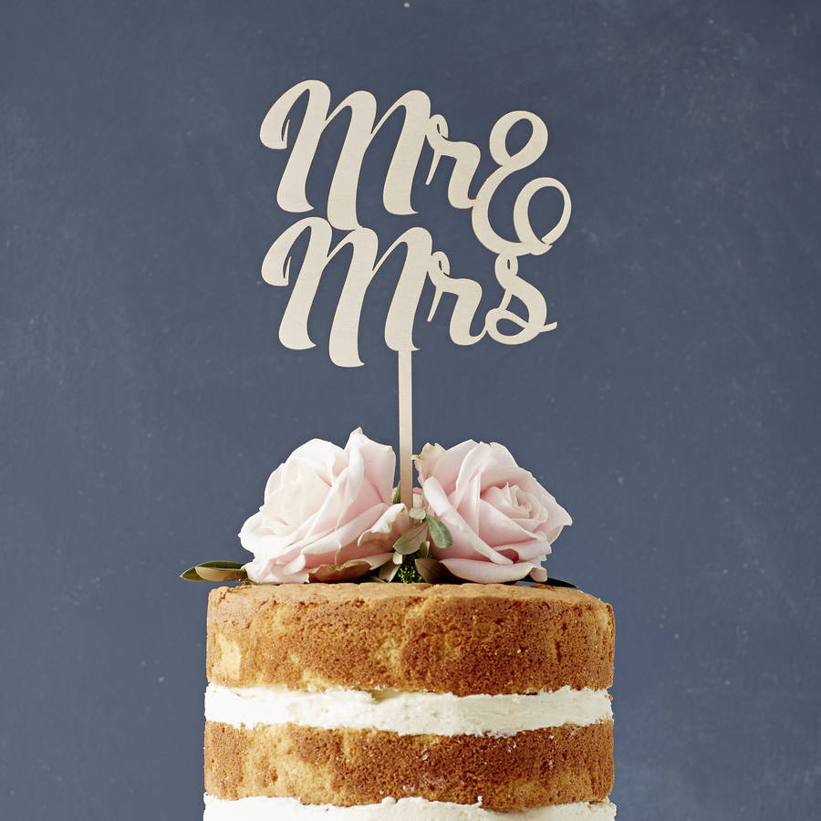 Mr And Mrs Wooden Wedding Cake Topper
