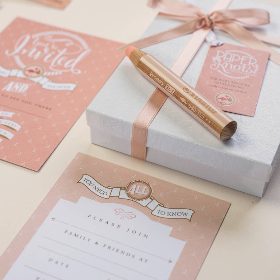 baby shower invitation box sets by paperknots notonthehighstreetcom