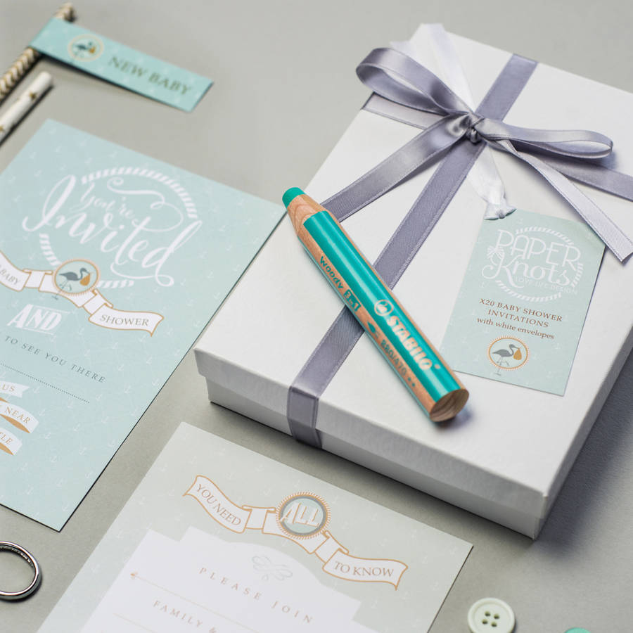 baby shower invitation box sets by paperknots | notonthehighstreet.com