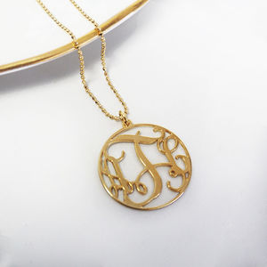 Personalised Monogram Circle Necklace - monogram & script