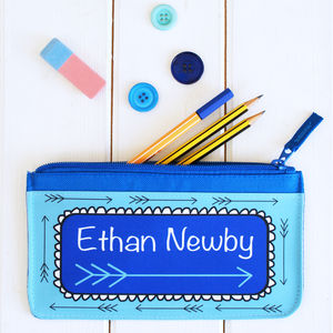 Personalised Blue Arrow Pencil Case - toys & games