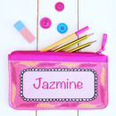 Personalised Pink Feather Pencil Case