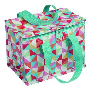 Multi Coloured Geometric Thermal Lunch Bag