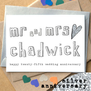 Personalised Twenty Fifth 'Silver Anniversary' Card