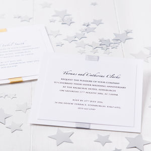 Silver Wedding Anniversary Elegance Invitation - wedding, engagement & anniversary cards