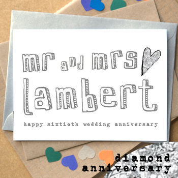 Personalised Sixtieth 'Diamond Anniversary' Card