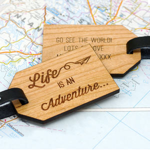 Personalised Wooden Adventure Luggage Tag - shop by personality