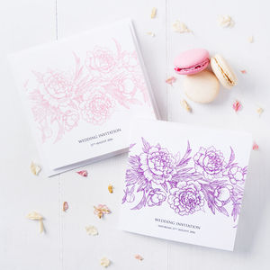Floral Folding Wedding Invitation - wedding stationery