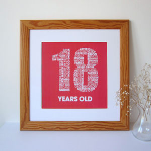 Personalised 18th Birthday Print - 18th birthday gifts